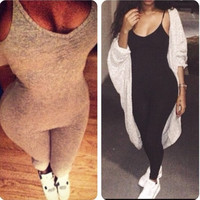 New fashion Jumpsuit solid sleeveless one-piece simple elegant sling = 1932711556