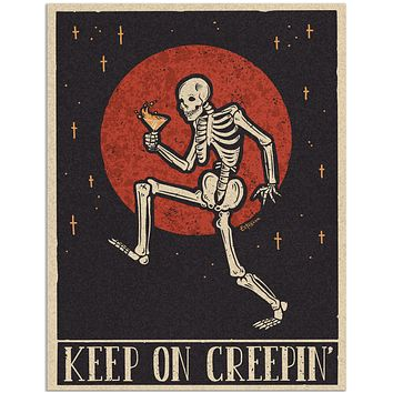 """Keep on Creepin'"" Drinking Skeleton 11x8.5"" Art Print"