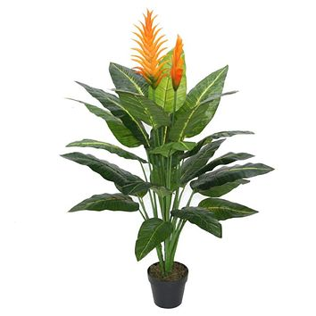 """53.25"""" Decorative Potted Artificial Green and Orange Bird of Paradise Plant"""