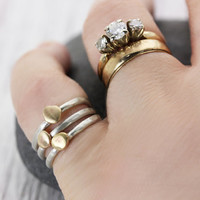 Stackable Rings Sterling Silver and Brass Handmade Rings - Midi Rings - Knuckle Rings - Minimalist Pretty Rings - Christina Guenther