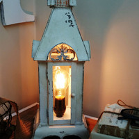 Shabby chic white church lamp nightstand desk lantern rustic home decor primitive farmhouse style photo prop Edison bulb lighting light