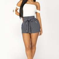 Layla Stripe Shorts - Navy
