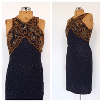 Vintage 80s does 1920s Blue Gold Beaded Silk Dress Vegas Wedding Gown Mini Cocktail Avante Garde Party Dress New Years Eve Flapper 1920s