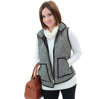 Spring Autumn Female Warm Vest Cotton Women Stylish Factory Excursion Quilted Puffer Herringbone Vest Linen color with Zipper