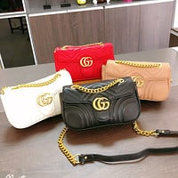 GG Classic Car Line Leather Tote Bag Hot Selling Fashion Ladies Chain Crossbody Bag
