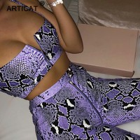 Articat Snake Print Zipper Sexy Women Jumpsuit Two Piece Spaghetti Strap Backless Rompers Womens Jumpsuit Beach Casual Playsuit