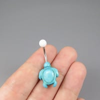 Sea turtle belly button jewelry ring, turquoise turtle belly ring,lucky charm Belly Button Jewelry,summer jewelry,girlfriend gift