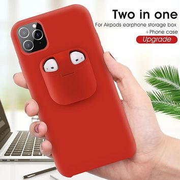 Luxury Liquid Phone Case With For Airpods Case For iPhone 11 Pro Max Xs Max XR Silicone Phone AirPod Holder Case Air Pods Cover