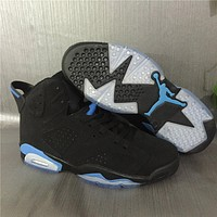 Air Jordan 6 Retro Aj6 Black/n. Blue Men Women Basketball Shoes 36 47