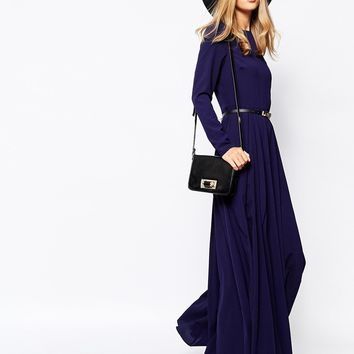 Lost Ink Textured Maxi Dress with Belt