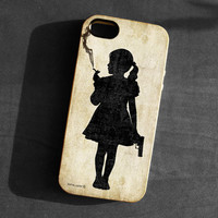 IPhone 5 Case girl smoking with a gun Soft TPU Gel Silicone Cover iPhone gothic art