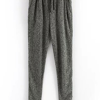 Grey Drawstring Waist Pocket Pant