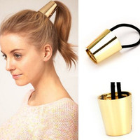 New  Punk Style Elastic Ponytail Holder Hair Accessories Hair Band Retro Vintage Round Hair Ring For Women