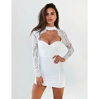 Athena sweetheart Neckline Choker detail lace bandage dress