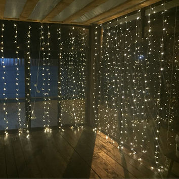 3Mx3M 300leds icicle led curtain string fairy light 300bulb Xmas Christmas Wedding Out home garden party garland decor 110V 220V