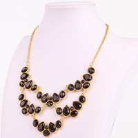 Cluster Necklace,Black Bubble Necklace, Black Statement Necklace, Resin Jewelry (FN0566-Black)