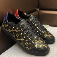 GUCCI 2019 new tide brand casual men's low-cut lace-up sports shoes Black