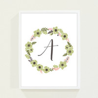 Personalized Monogram Floral Nursery Art in Olive Green Brown and Coral Peach - Childrens Wall Art with Initial Alphabet Posters