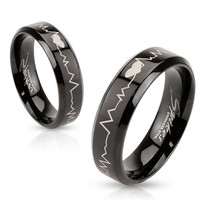 Heartbeat Laser Etched Stainless Steel Black IP Band Men Women Unisex Ring