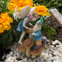 Miniature Fairy Garden Limited Edition Girl Fairy and Gnome on Mushrooms Cody and Cassey