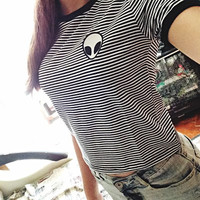 2016 Alien Printed Stripes Printed Round Necked Plain Casual Hipster Top Shirt T-Shirt _ 4060