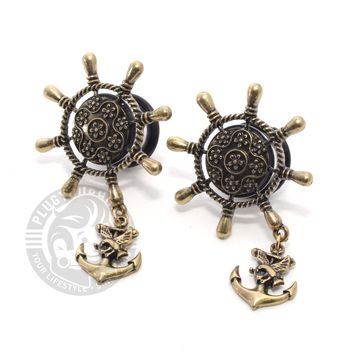 Pirate Ship Wheel with Anchor Dangle Single Flare Steel Plugs