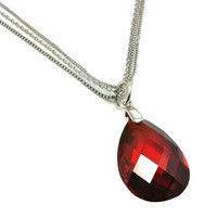 .925 Sterling Silver Red Teardrop Wire Necklace