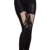 Vintage Punk Lace up Stitching Faux Leather Gothic Embossed Pattern Legging Pant (Black)