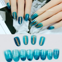 Fashion fake nails blue marble texture press on tips with metal rod round style 24Pcs