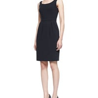 Midnight Tank Dress with Seamed Waist, Navy, Size: