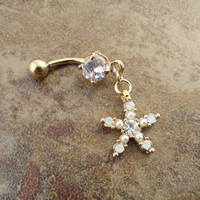 Ivory Pearl Starfish Gold Belly Button Jewelry Gold Belly Ring