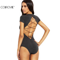 COLROVIE Heather Grey Round Neck Short Sleeve Tops Women Fashion Clothing Solid Cutout Lace Up Back Bodysuit