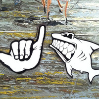 Hang Loose Shaka Brah Sticker and Left Facing Shark Sticker Gift Surfing Stickers Set Gliders USA