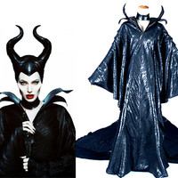 Maleficent Costume, Maleficent Cosplay Pu Leather Outfit