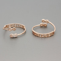 Infinity Best friend Knuckle Adjustable Ring in Pink Gold