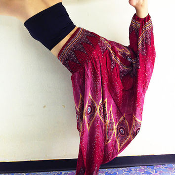 Thai Women Harem Pants Yoga Pants Aladdin Pants Maxi Pants Baggy Pants Gypsy Pants Rayon Pants Clothing Jumpsuit Trouser Red/Pink (HP28)