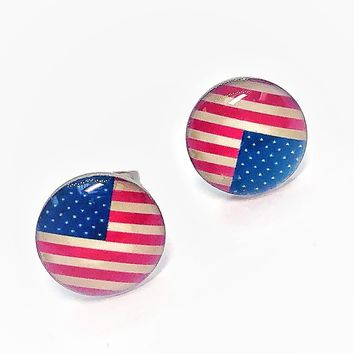 American Flag Enamel Button Stud Earrings