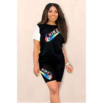 NIKE 2019 new women's letter printing two-piece