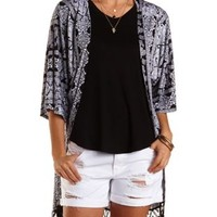 Lace-Trim Paisley Print Cardigan by Charlotte Russe