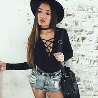 Long Sleeve Lace Up Tops 2XL One Piece Short Overalls For Women Gray Black Bandage Bodysuit Sexy Party Slim Bandage Jumpsuits