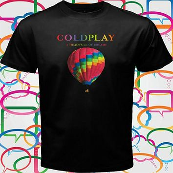 Coldplay A Head Full of Dreams Rock Band Tour Men's Black T Shirt Size S to 3XL|T-Shirts
