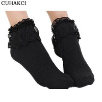 Girls Womens Retro Lace Ruffle Frilly Ankle Socks Short Socks Hot Sale Natural Color Patchwork Pure Color For Autumn Wear