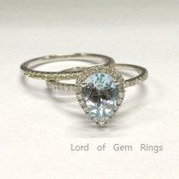Pear Aquamarine Diamond  Engagement Ring Sets Pave Peridot Wedding Band 14K White Gold 6x8mm