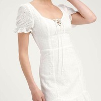 Eve Eyelet Mini Dress - White