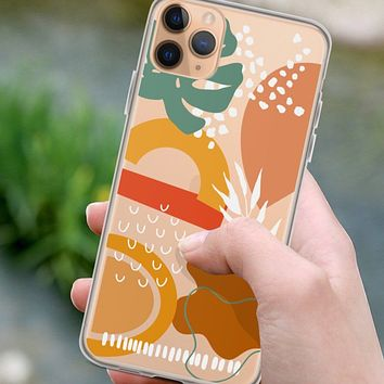 Tropical Shapes Abstract Clear Phone Case