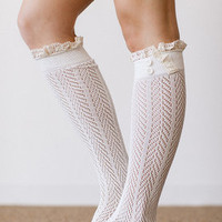 Ivory Knitted Boot Socks