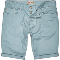 River Island MensLight green denim rolled up shorts