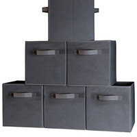 Dual Handle Storage Cubes - Set of 6 Dark Gray Bins for Cube Storage - Foldable Box Containers