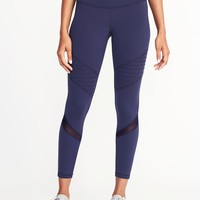 High-Rise 7/8-Length Moto Compression Leggings for Women |old-navy