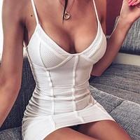 Summer Newest Women Sexy Sleeveless Mesh Patchwork Slim Dress White